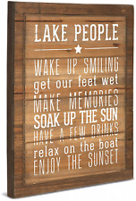 Gift Company We People Lake Rules Sign Sun Boat Sunset Wood Front MDF Feet Sides