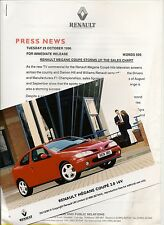 Renault Megane Coupe 1996 Prensa release/photo \ \ Precio Reducido! / * Post UK LIBRE *