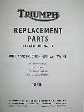 1965 Triumph Motorcycle Replacement Parts Catalog - Unit Construction 650cc Twin
