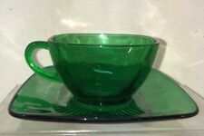 Vtg Anchor Hocking Emerald Green Glass SQUARE Tea Cup & Saucer Plate Set