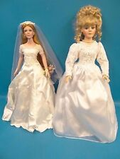 Mixed Lot 2 Wedding Dress Porcelain Face Brides Collectors Choice Dandee Dolls