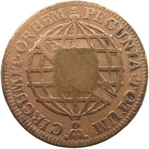 BRAZIL 40 REIS 1809 COUNTERMARKED ON 20 REIS 1775 #t138 689