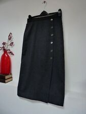 Ladies Lovely M&S Grey 100% Pure New Wool Calf Length Skirt ,S, 28W x 32L Vgc