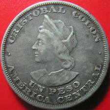EL SALVADOR 1894 C.A.M. PESO SILVER CRISTOBAL COLON COLUMBUS RARE WORLD COIN!