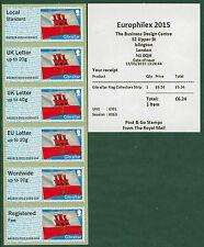 "Europhilex flag di Gibilterra ""Wordwide"" errore corruzione Set / 6 BANDIERE POST & GO"