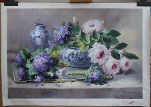 """Artwork Flower violet and white rose painting oil on canvas Floral signed 24x36"""""""