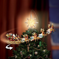 CHRISTMAS Thomas Kinkade Sleigh w/ Reindeer Revolving ANIMATED TREE TOPPER DECOR