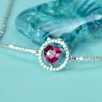 18k white gold gf made with SWAROVSKI red heart crystal chain slim bracelet