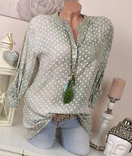 Gepunktete Langarm Damenblusen, - tops & -shirts mit V-Ausschnitt