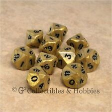 NEW 10 D10 Olympic Pearlized Gold RPG Game Dice Set in Tube Ten Sided WoD D10s