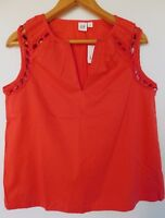 NWT GAP Women's Red Lace Trim Sleeveless Top Sizes XS S M L MSRP$40 New