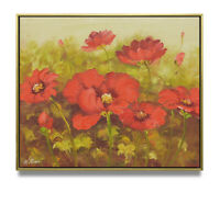 NY Art - Contemporary Red Poppies 20x24 Original Oil Painting with Frame!