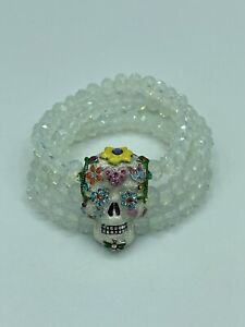 NEW! KIRKS FOLLY - SUGAR SKULL DREAMS STRETCH CRYSTAL BEADED ENAMEL BRACELET 8""