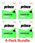 4 Pack Bundle of PRINCE Synthetic Gut 16 with Duraflex BLACK - Authorized Dealer