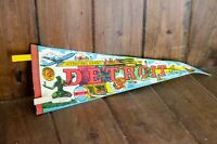 Vintage Souvenir Felt Pennant Detroit