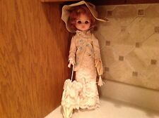 "Furga 18"" doll Made in Italy Nice Brown Sleep Eyes Blushing Victorian Dress"