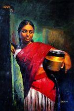 Indiano dipinto ad olio su tela, con texture, Spatola, signora, di grandi dimensioni.