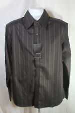 NEW Red Level Nine Brown Pinstripe Long Sleeve Front Down Shirt Size Large NWT