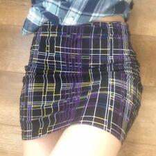 Asos Retro Multi colourful Geometric Print Grid Stretch body-con Skirt size 12