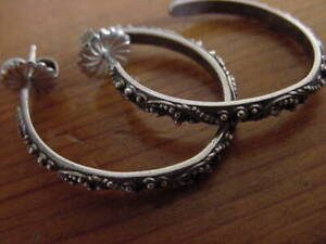 LOIS HILL GRANULATED STERLING SILVER HOOP EARRINGS,7.9 GRAMS,EXTRA LG BUTTERFLY
