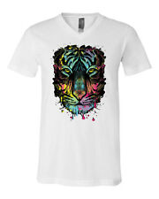 Neon Dripping Tiger Face V-Neck T-Shirt Wildlife Rave Music Tee