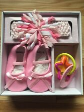Stephan Baby Flapper Headband/Shoes Set Rose Gift Baby Shower Set