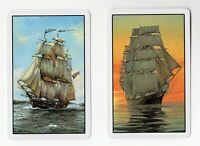 2 Single VINTAGE Swap//Playing Cards SAILING SHIPS AT SEA FLOWER LEAF PANEL