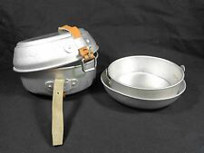 CAMPING MESS KIT 4 Piece Aluminum Pans 1-2 Person Compact Leather Strap Korea