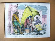 Gravure XIXe aquarellée main - SAINSON - Lepero et écrivain public à Mexico
