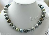 """Rare 10mm Multi-Color South Sea Shell Pearl Round Gemstone Necklace 18""""AAA"""