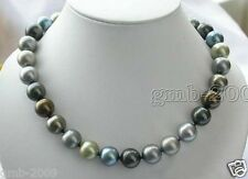 "Rare 10mm Multi-Color South Sea Shell Pearl Round Gemstone Necklace 18""AAA"