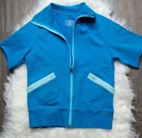 Lululemon Sz 6 Short Sleeve Full Zip Bright Blue with Pockets