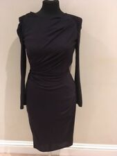 WHISTLES NAVY BODYCON DRESS LONG SLEEVE GOLD SIDE ZIP LINED ROUND NECK SALE £70