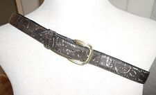 LEATHER BELT SIZE LARGE BLACK AND SILVER WITH ANTIQUE GOLD TONE BUCKLE