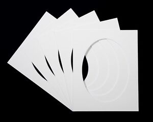 Pack of 5 Oval Photo / Picture Mounts - White, Black or Cream
