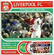 Liverpool 2002-03 West Ham (Michael Owen) Football Stamp Victory Card #211