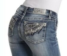 Miss Me Signature Bootcut Jeans Women's Size 29 Long Embellished Blue NEW $99