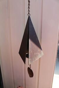 Vintage  Large Heavy Joe Coniff  Style Three-Note Iron Triangle Wind Bell Chime