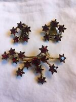 Vintage Austrian Ruby Crystal Brooch Pin And Earrings Red Starburst Signed
