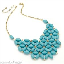 Turquoise Flower Chain Bib Statement Drop Necklace AN29274