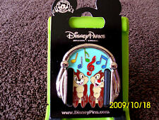 Disney * CHIP & DALE- HEADPHONES * New on Card Character Trading Pin