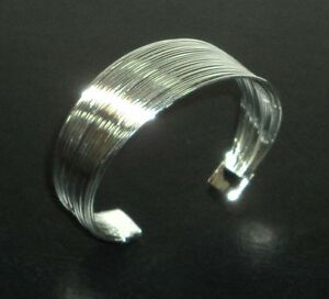 Cuff Bracelet Sterling Silver .925 With Drawstring Pouch NEW #003