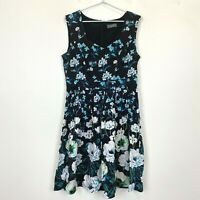 Jacqui E Womens Black with Blue Flowers Sleeveless Dress Size 12