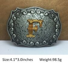 Cool Mens Western Cowboy Texas Rodeo Initial F Heavy Steel Belt Buckle Jewelry