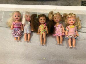 """Mixed Lot of 5 Mattel Barbie  Kelly & Friends Dolls 4.5""""-5"""""""