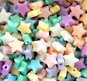 500 Stars 10mm Assorted Mixture Opaque Pastel Colors Acrylic Star Bulk Beads