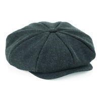 Flat Cap with Peak 'Shelby' Baker Boy Newsboy Herringbone Cloth Cap Hat