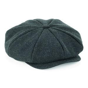 Flat Cap with Peak 'Shelby' Baker Boy Newsboy Herringbone Cloth Cap Hat