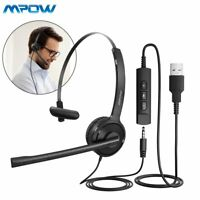 Mpow USB Headset with Microphone Noise Cancelling headphones For PC Computer Mac