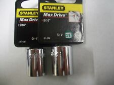 NEW STANLEY 3/8 in Drive  9/16 INCH  MAX DRIVE 12  POINT SOCKETS  TWO SOCKETS